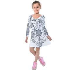 Grayscale Floral Heart Background Kids  Long Sleeve Velvet Dress by Mariart