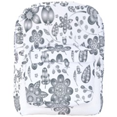 Grayscale Floral Heart Background Full Print Backpack by Mariart