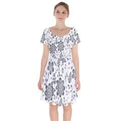 Grayscale Floral Heart Background Short Sleeve Bardot Dress