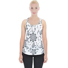 Grayscale Floral Heart Background Piece Up Tank Top by Mariart