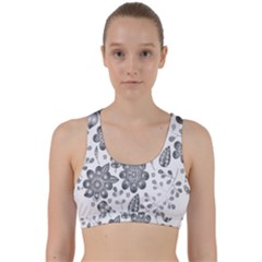 Grayscale Floral Heart Background Back Weave Sports Bra by Mariart
