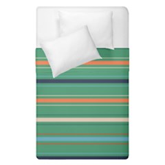 Horizontal Line Green Red Orange Duvet Cover Double Side (single Size) by Mariart