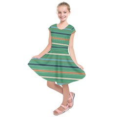 Horizontal Line Green Red Orange Kids  Short Sleeve Dress by Mariart