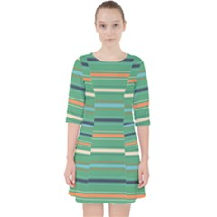 Horizontal Line Green Red Orange Pocket Dress