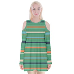 Horizontal Line Green Red Orange Velvet Long Sleeve Shoulder Cutout Dress