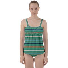 Horizontal Line Green Red Orange Twist Front Tankini Set by Mariart