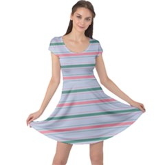 Horizontal Line Green Pink Gray Cap Sleeve Dress by Mariart