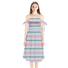 Horizontal Line Green Pink Gray Shoulder Tie Bardot Midi Dress by Mariart