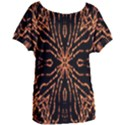 Golden Fire Pattern Polygon Space Women s Oversized Tee View1