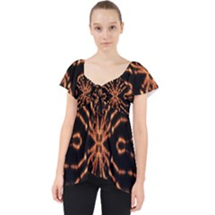 Golden Fire Pattern Polygon Space Lace Front Dolly Top by Mariart