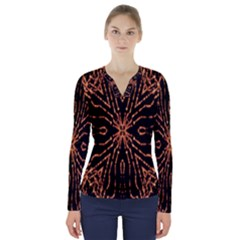 Golden Fire Pattern Polygon Space V Neck Long Sleeve Top