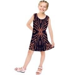Golden Fire Pattern Polygon Space Kids  Tunic Dress by Mariart