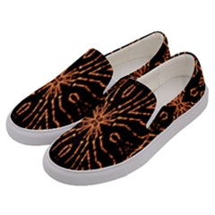 Golden Fire Pattern Polygon Space Men s Canvas Slip Ons by Mariart
