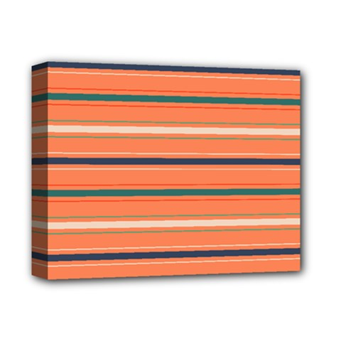 Horizontal Line Orange Deluxe Canvas 14  X 11  by Mariart
