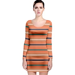 Horizontal Line Orange Long Sleeve Bodycon Dress by Mariart