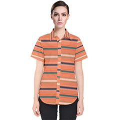 Horizontal Line Orange Women s Short Sleeve Shirt