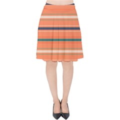 Horizontal Line Orange Velvet High Waist Skirt by Mariart