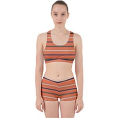 Horizontal Line Orange Work It Out Sports Bra Set