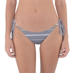 Horizontal Line Grey Pink Reversible Bikini Bottom by Mariart