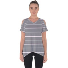 Horizontal Line Grey Pink Cut Out Side Drop Tee