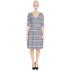 Horizontal Line Grey Pink Wrap Up Cocktail Dress by Mariart