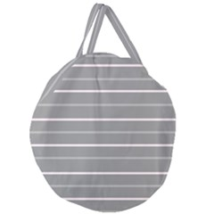 Horizontal Line Grey Pink Giant Round Zipper Tote by Mariart