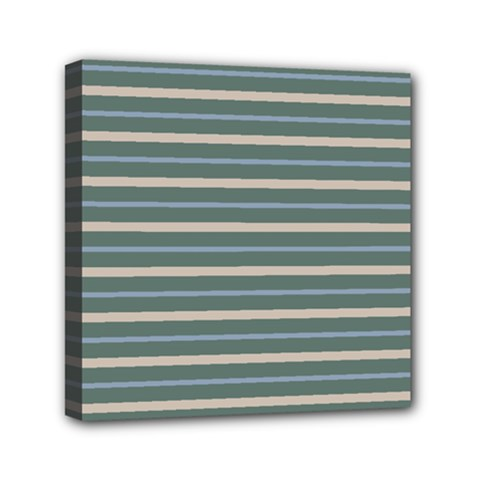Horizontal Line Grey Blue Mini Canvas 6  X 6  by Mariart