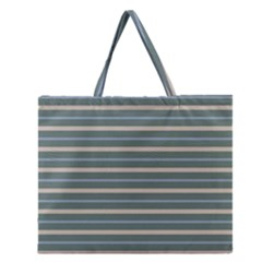 Horizontal Line Grey Blue Zipper Large Tote Bag by Mariart