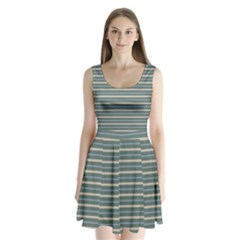Horizontal Line Grey Blue Split Back Mini Dress