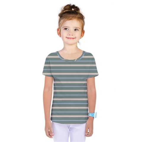 Horizontal Line Grey Blue Kids  One Piece Tee by Mariart