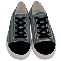 Horizontal Line Grey Blue Men s Low Top Canvas Sneakers