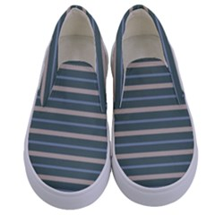 Horizontal Line Grey Blue Kids  Canvas Slip Ons