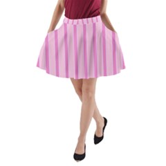 Line Pink Vertical A Line Pocket Skirt by Mariart