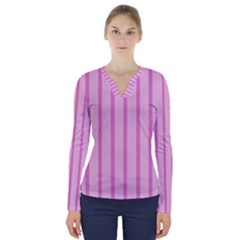 Line Pink Vertical V-neck Long Sleeve Top by Mariart