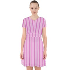 Line Pink Vertical Adorable In Chiffon Dress by Mariart