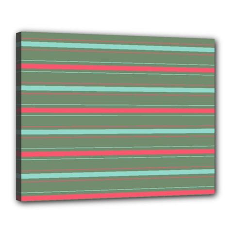 Horizontal Line Red Green Canvas 20  X 16