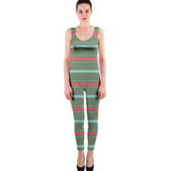 Horizontal Line Red Green Onepiece Catsuit by Mariart
