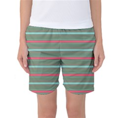 Horizontal Line Red Green Women s Basketball Shorts by Mariart