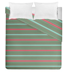 Horizontal Line Red Green Duvet Cover Double Side (queen Size) by Mariart