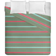Horizontal Line Red Green Duvet Cover Double Side (california King Size) by Mariart