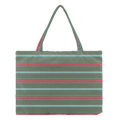 Horizontal Line Red Green Medium Tote Bag by Mariart