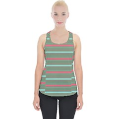 Horizontal Line Red Green Piece Up Tank Top