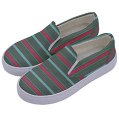 Horizontal Line Red Green Kids  Canvas Slip Ons by Mariart