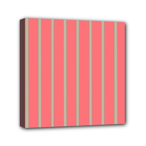 Line Red Grey Vertical Mini Canvas 6  X 6  by Mariart