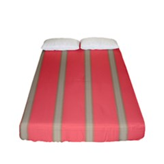 Line Red Grey Vertical Fitted Sheet (full/ Double Size) by Mariart