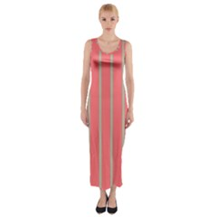 Line Red Grey Vertical Fitted Maxi Dress