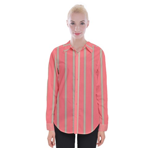 Line Red Grey Vertical Womens Long Sleeve Shirt by Mariart