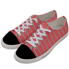 Line Red Grey Vertical Women s Low Top Canvas Sneakers by Mariart