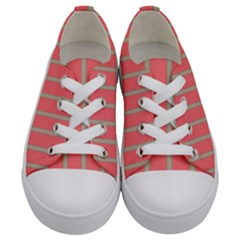 Line Red Grey Vertical Kids  Low Top Canvas Sneakers