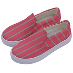 Line Red Grey Vertical Kids  Canvas Slip Ons by Mariart